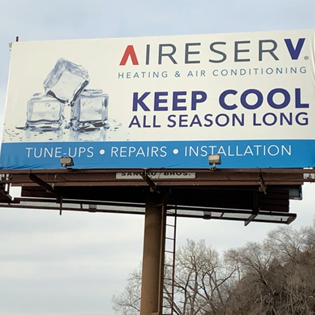 Billboard with ice cubes