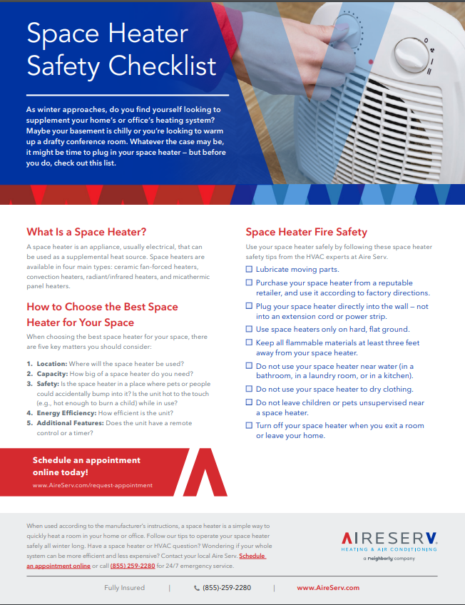 Space Heater Safety Tips | Space Heater Fire Safety Checklist