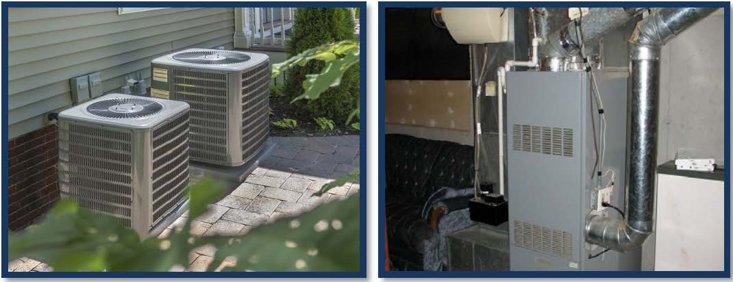 AC system and furnace in the backyard