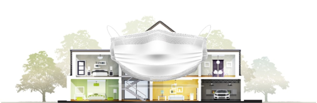 Face mask in front of drawn, see-through house