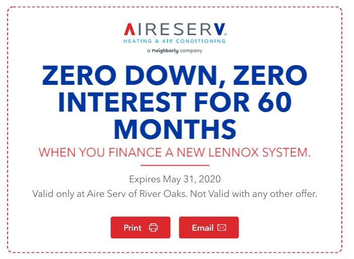Lennox Financing Coupon - Zero Interest